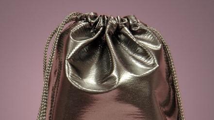 pattened silver favor bag