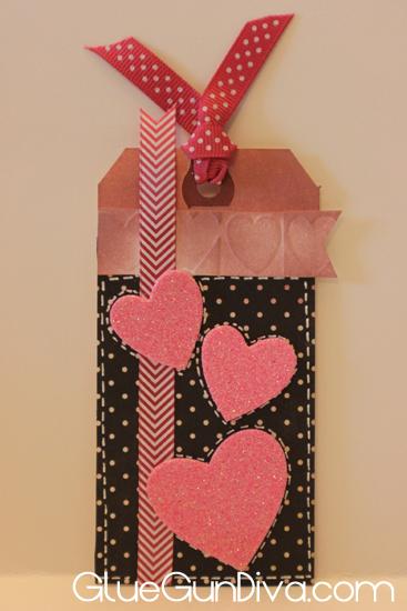 glitter hearts tag